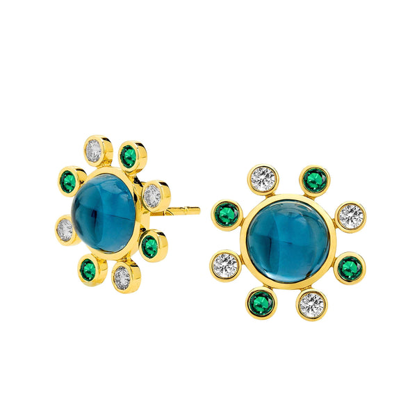 Cosmic London Blue Topaz and Emerald Studs