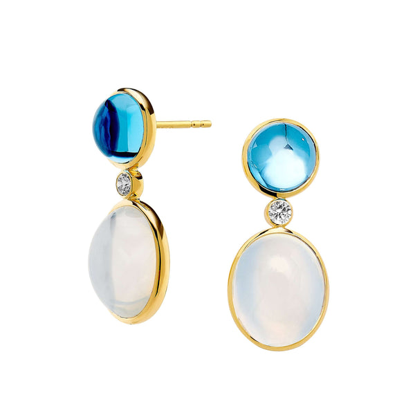 Candy Blue Topaz and Moon Quartz Earrings
