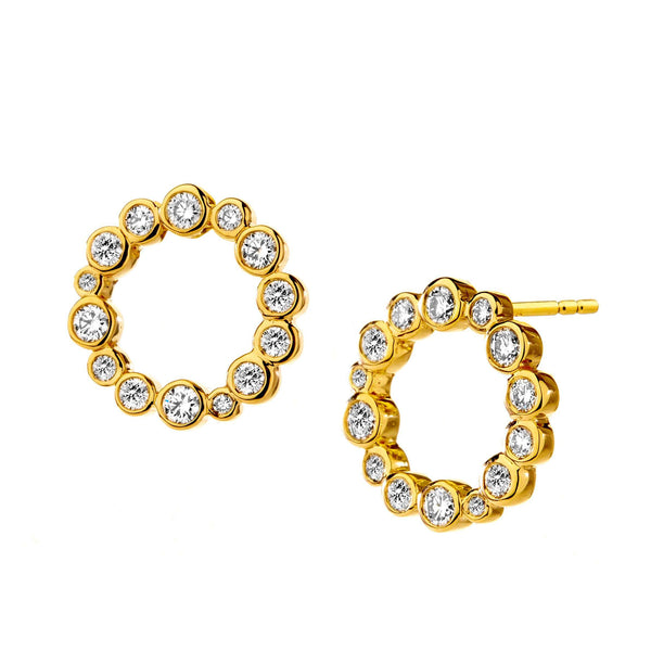 Cosmic Diamond Circle Earrings