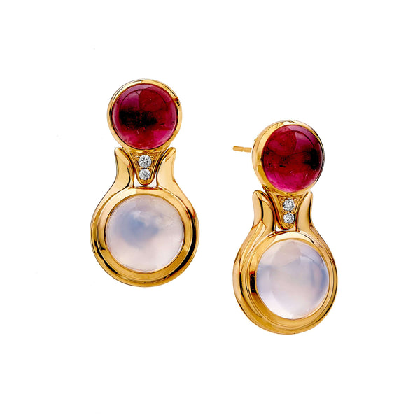 18 karat yellow gold Garnet 6 carats approx. Moon Quartz 9 carats approx. Champagne Diamonds 0.80 carat approx. Post backs for pierced ears