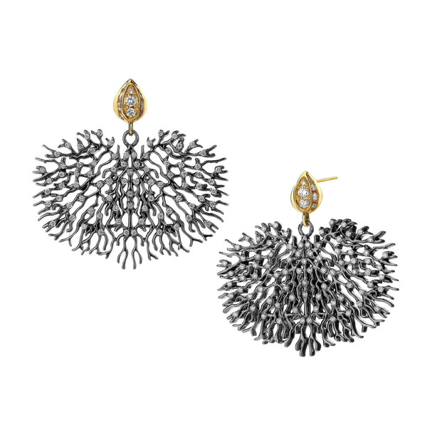 Black Coral Diamond Earrings