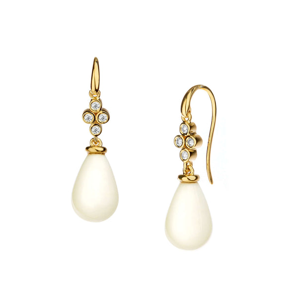 White Agate Diamond Drop Earrings