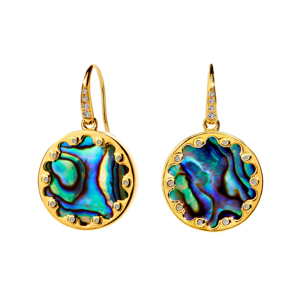 Mogul Abalone and Diamond Earrings