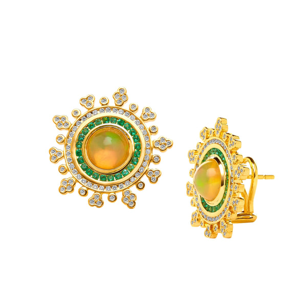 Mogul Ethiopian Opal and Emerald Earrings