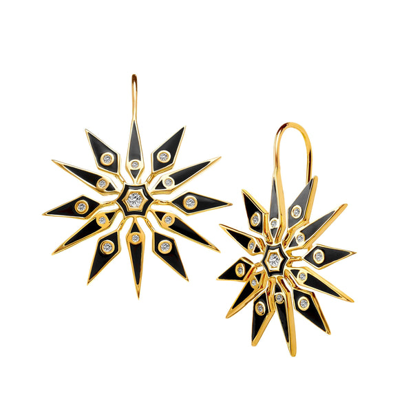Hex Black Enamel Starburst Earrings