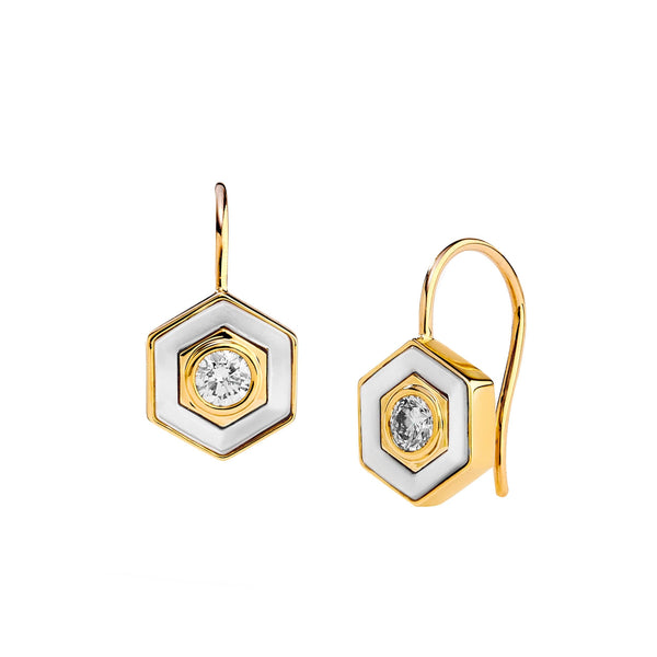 Hex Mother of Pearl Diamond Earrings