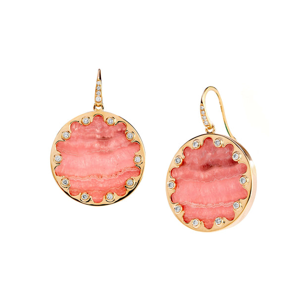 Mogul Rhodochrosite and Diamond Earrings