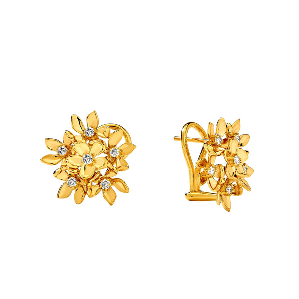 Jardin Flower Bunch Clip Earrings