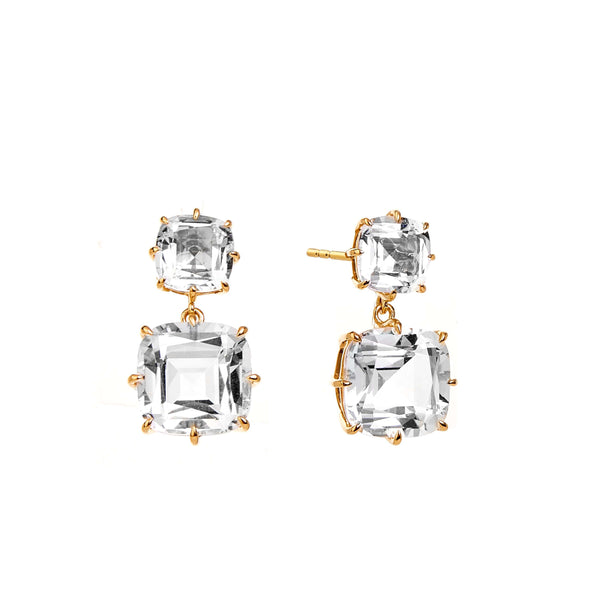 Mogul Cushion Double Drop Earrings