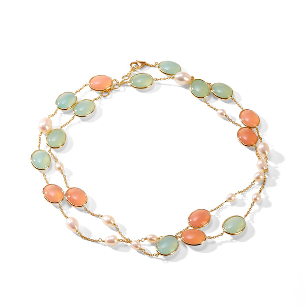 Chalcedony Pearl Necklace