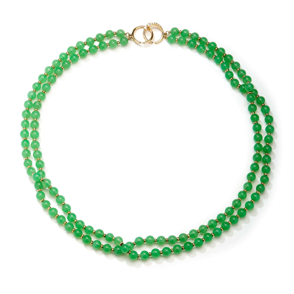 Mogul Chrysoprase Two Strand Bead Necklace