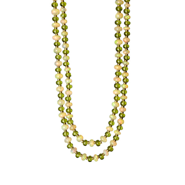 Mogul Opal and Peridot Bead Necklace