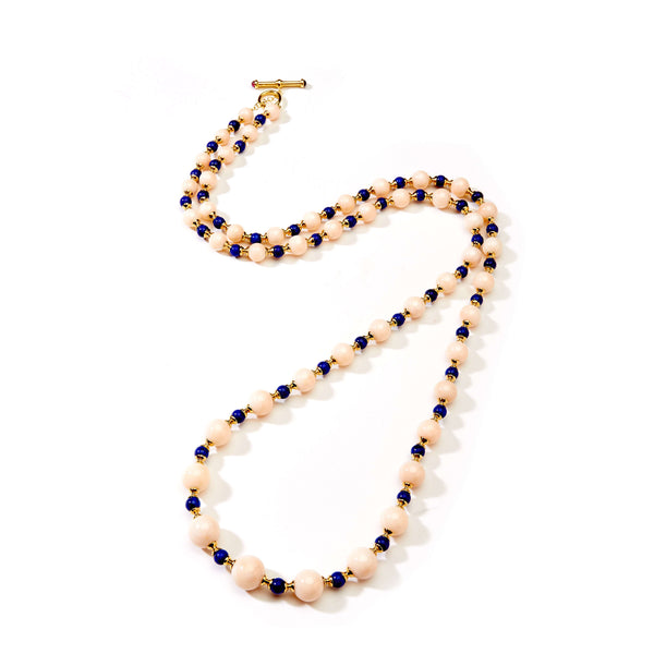 Angel skin Coral and Lapis Lazuli Bead Necklace