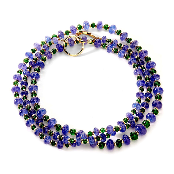 Mogul Tanzanite and Tsavorite Bead Necklace