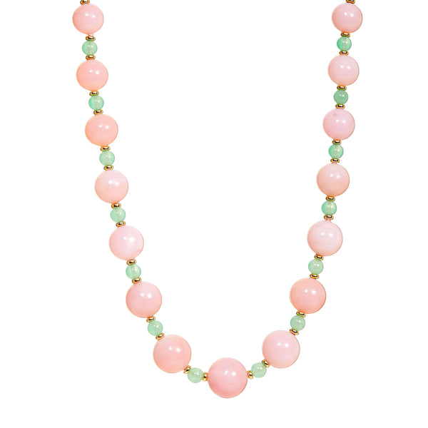 Mogul Pink Opal and Chrysoprase Bead Necklace