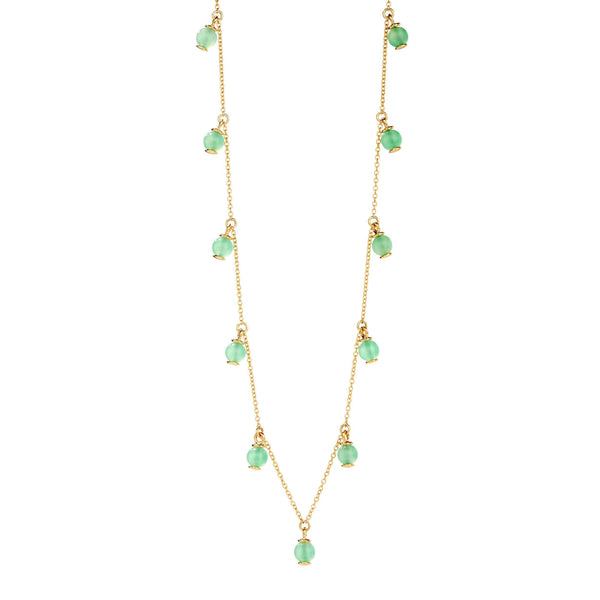 Mogul Chrysoprase Bead Station Necklace