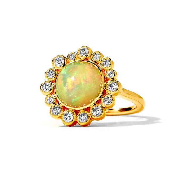 Cosmic Opal and Diamond Ring