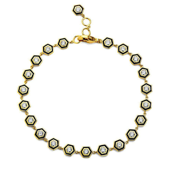Hex Diamond Enamel Bracelet
