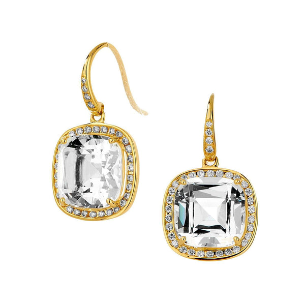 Mogul Rock Crystal Cushion Diamond Earrings