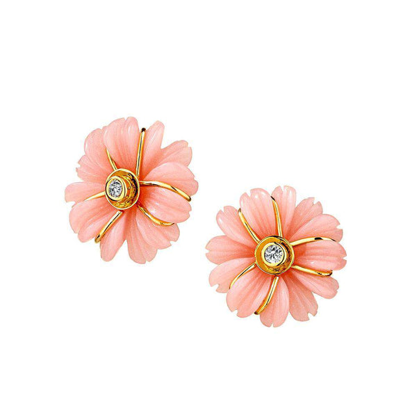 Jardin Pink Opal Flower Earrings