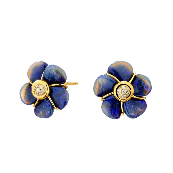 Jardin Hand Carved Opal Flower Earrings