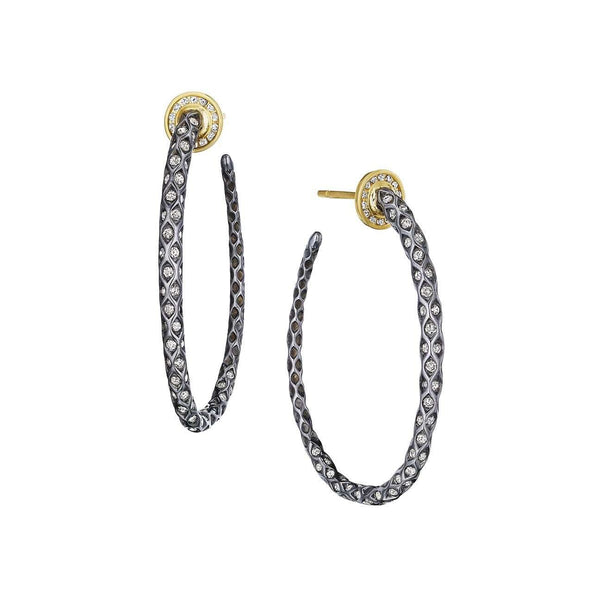 Oxidized Silver and Diamond Mogul Hoops
