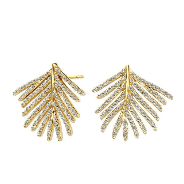 Jardin Palm Leaf Diamond Earrings