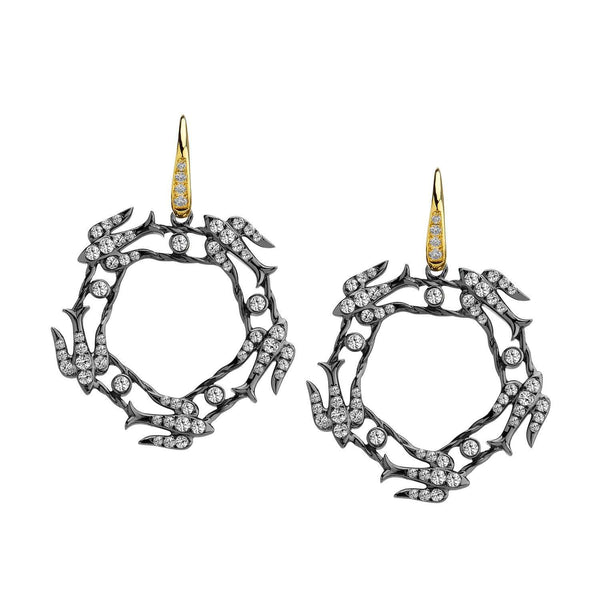 Jardin Diamond Swallow Circle Earrings