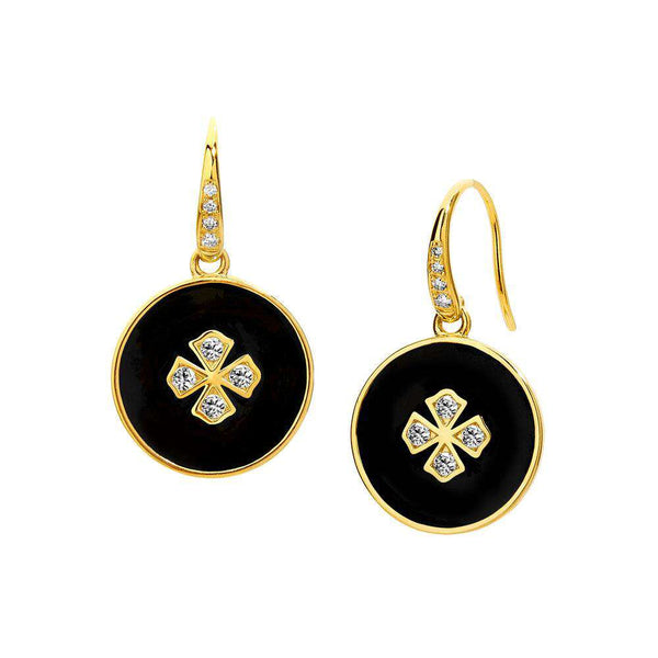 Black Enamel Mogul Earrings