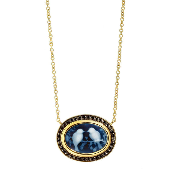 Jardin Love Birds Cameo Necklace