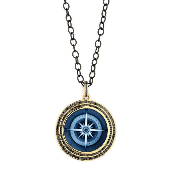 Cosmic Black Diamond Compass Pendant