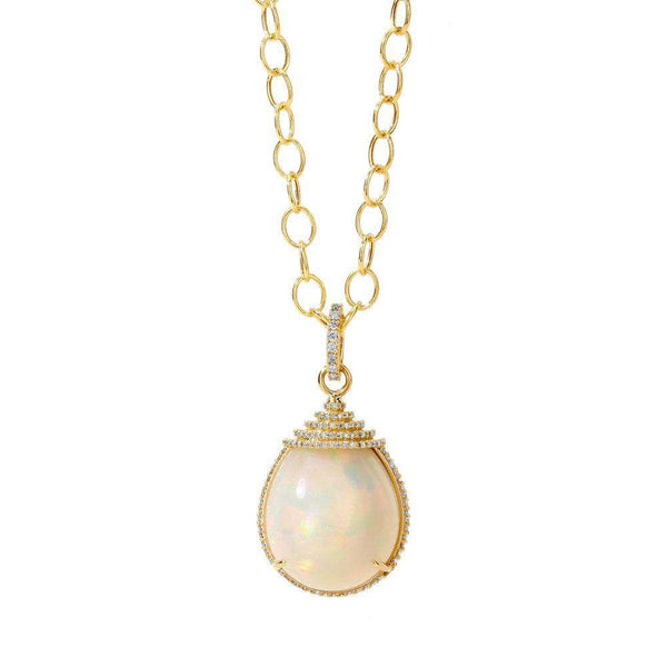 Mogul Ethiopian Opal and Diamond Drop Pendant