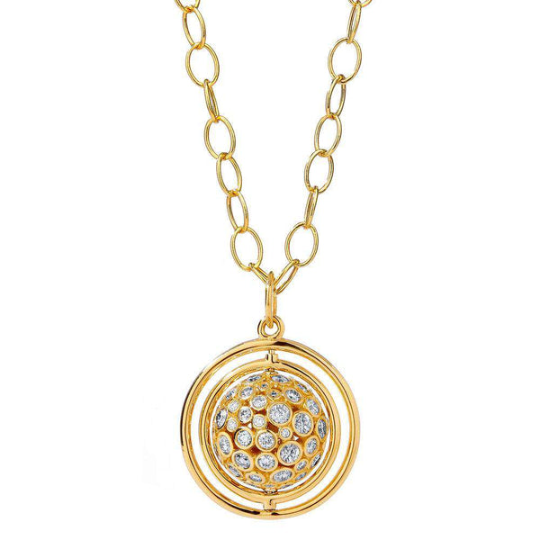 Cosmic Swivel Diamond Ball Pendant