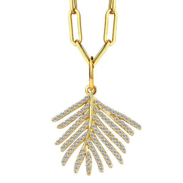 Jardin Diamond Palm Leaf Charm Pendant