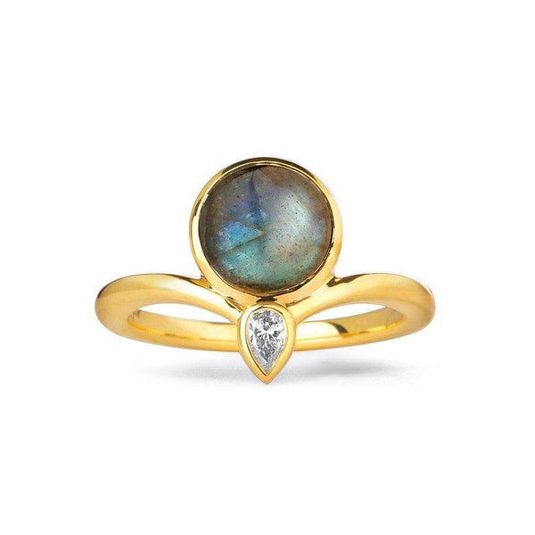 Mogul Labradorite and Diamond Point Ring