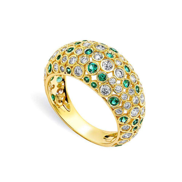 Cosmic Emerald and Diamond Dome Ring