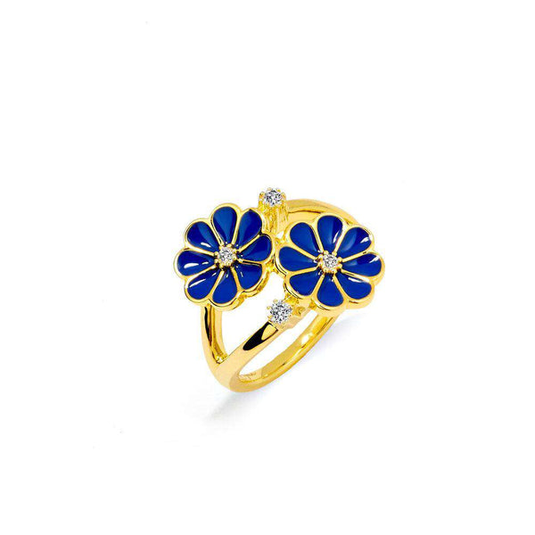 Jardin Blue Enamel Ring