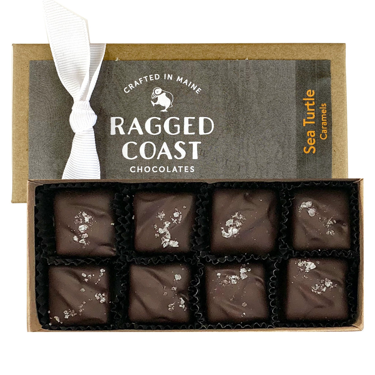 Dark Chocolate Sea Salt Caramels with Nuts - raggedcoastchocolates