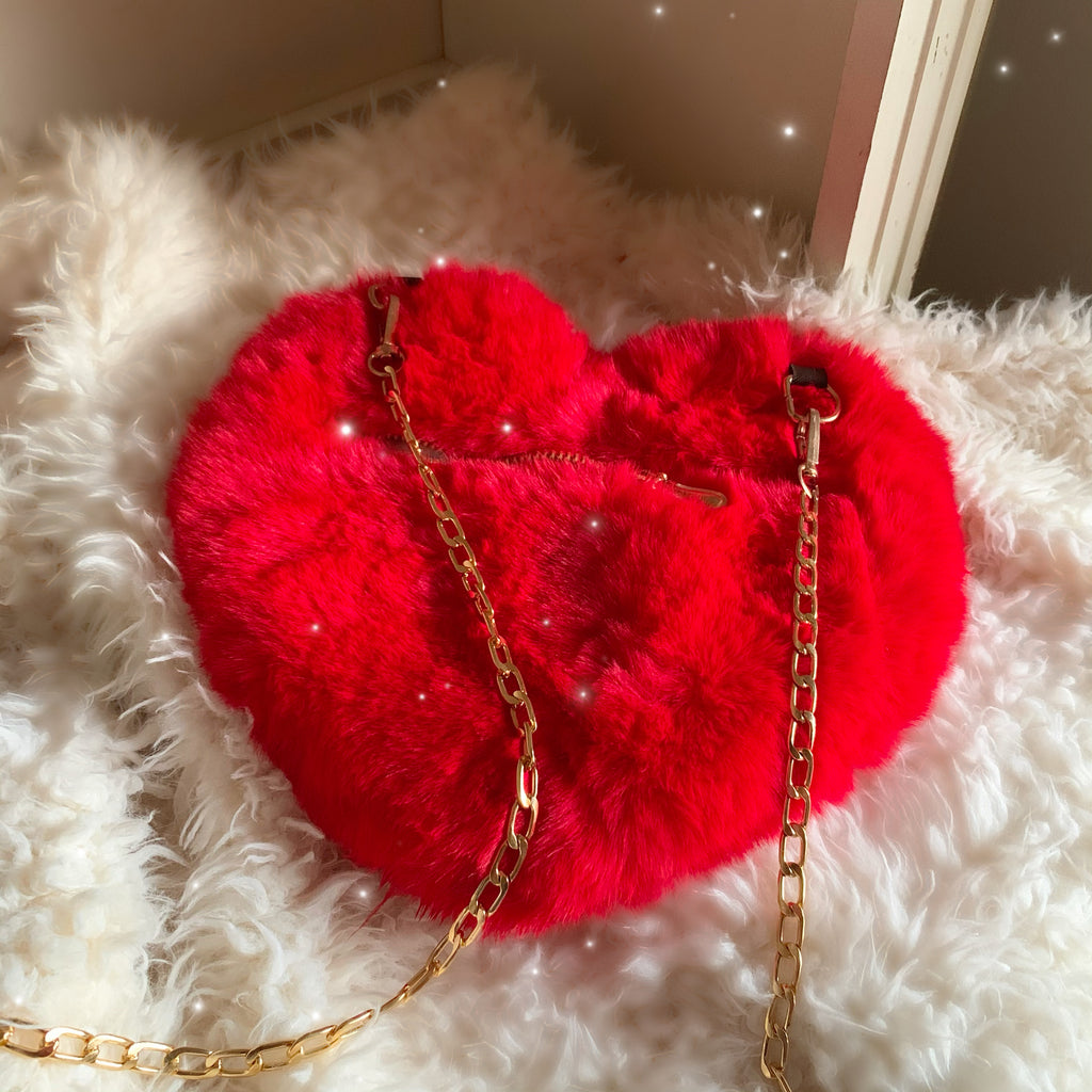"""Be Mine"" Fluffy Heart Clutch"