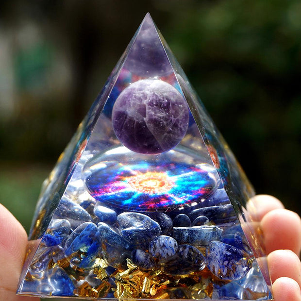Orgonite Amethyst Blue Melting Quartz Pyramid