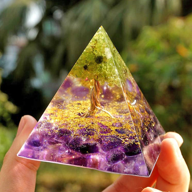 Orgonite Tree Of Life Peridot Pyramid