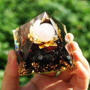 Orgonite Rose Quartz Obsidian Flower Pyramid