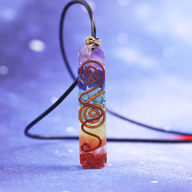 Rainbow Chakra Necklace + FREE Pouch