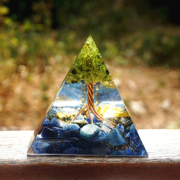 Orgonite Tree Of Life Peridot Kyanite Pyramid