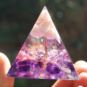 Orgonite Tree of Life Pink Opal Amethyst Pyramid