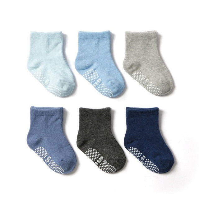 0 to 5 Years Low Cut Non Slip Socks - 6 pairs