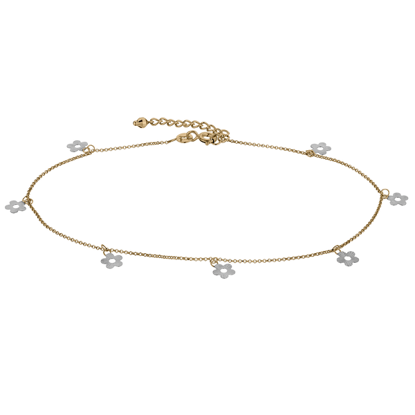 10kt GOLD 2 TONE FOLOWER ANKLET.........NOW