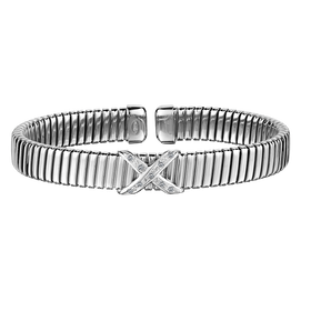 .10 CARAT DIAMOND CUFF BANGLE, SILVER....................NOW
