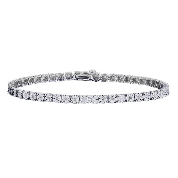 1.00 CARAT DIAMOND BRACELET, 10KT WHITE GOLD