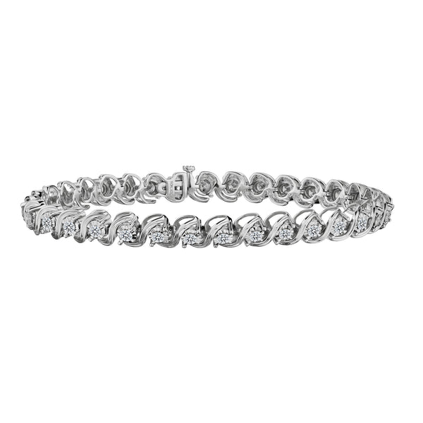 2.00 CARAT DIAMOND BRACELET, 10KT WHITE GOLD